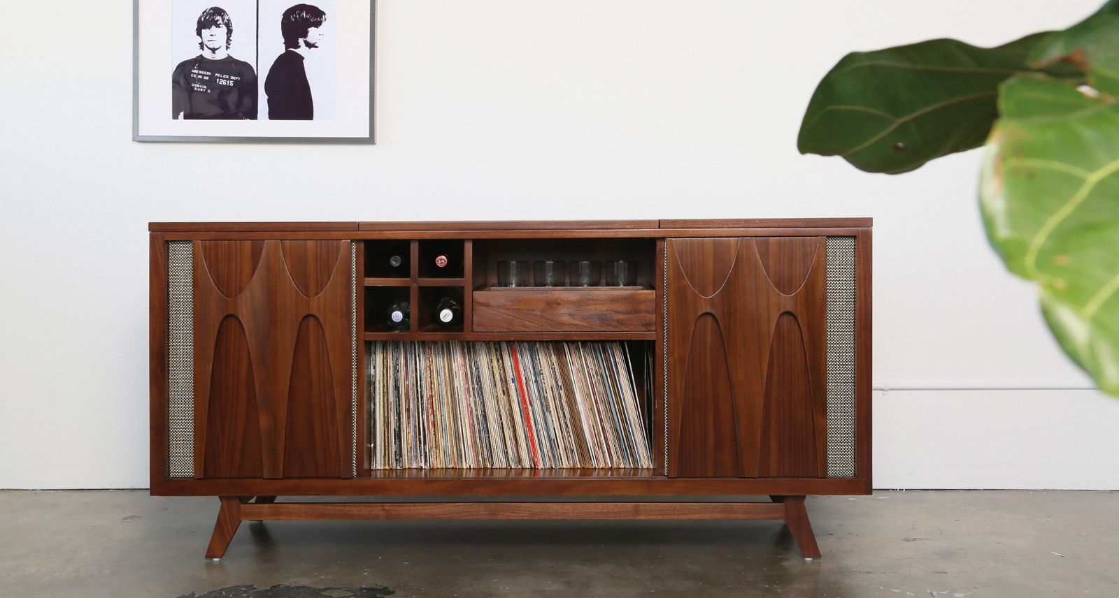 this record player console comes with its own builtin speakeasy sharp magazine